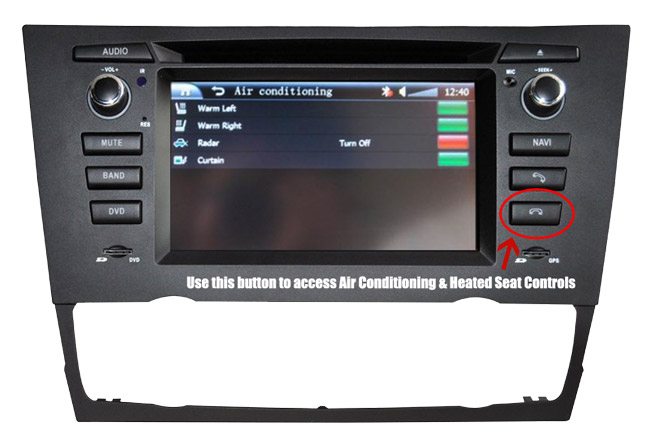D9XMMI Heated Seat & Air Conditioning Control From Menu for BMW 3 Series